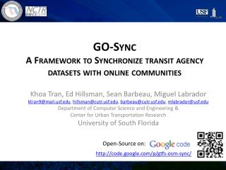 GO-Sync A Framework to Synchronize transit agency datasets with online communities