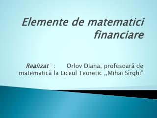 Elemente de matematici financiare