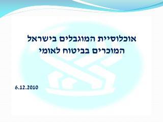 אוכלוסיית המוגבלים בישראל המוכרים בביטוח לאומי 6.12.2010