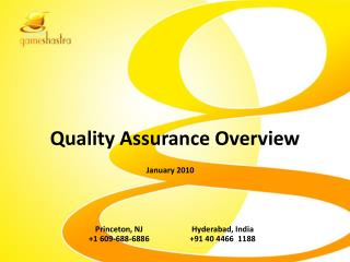 Quality Assurance Overview