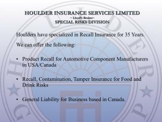 Product Recall for Automotive Component Manufacturers in USA/Canada