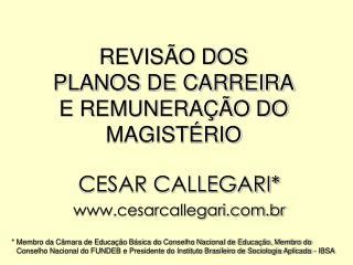 REVISÃO DOS PLANOS DE CARREIRA E REMUNERAÇÃO DO MAGISTÉRIO