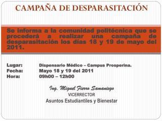 CAMPAÑA DE DESPARASITACIÓN