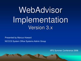 WebAdvisor Implementation Version 3.x
