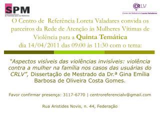 Convite 5ª Temática - Dissertação Gina Costa Gomes