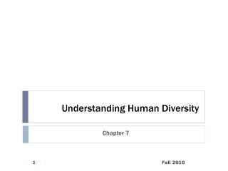 Understanding Human Diversity