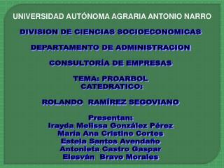 DIVISION DE CIENCIAS SOCIOECONOMICAS DEPARTAMENTO DE ADMINISTRACION CONSULTORÍA DE EMPRESAS