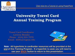 University Travel Card  Annual Training Program
