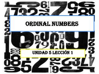 U5L1 ordinal