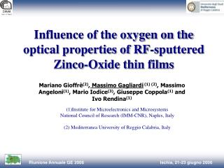 Influence of the oxygen on the optical properties of RF-sputtered Zinco-Oxide thin films