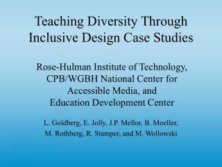 Teaching Diversity Through Inclusive Design Case Studies