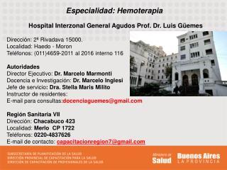 Especialidad: Hemoterapia