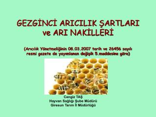 Cengiz TAŞ Hayvan Sağlığı Şube Müdürü  Giresun Tarım İl Müdürlüğü