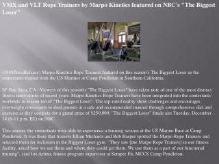 VMX and VLT Rope Trainers by Marpo Kinetics featured on NBC