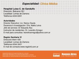 Especialidad: Clínica Médica