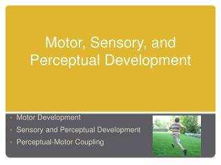 Motor, Sensory, and Perceptual Development