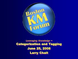 Leveraging Knowledge  – Categorization and Tagging  June 25, 2008 Larry  Chait