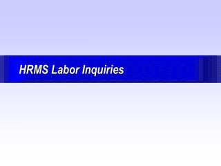 HRMS Labor Inquiries