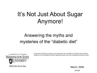 It s Not Just About Sugar Anymore