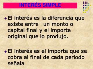 INTERÉS SIMPLE