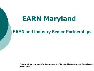 EARN and Industry Sector Partnerships
