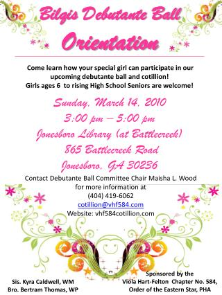 Contact Debutante Ball Committee Chair Maisha L. Wood for more information at  (404) 419-6062