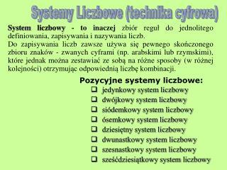 Systemy Liczbowe (technika cyfrowa)