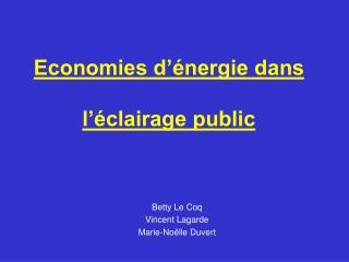 Economies d��nergie dans  l��clairage public