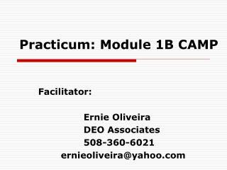 Practicum: Module 1B CAMP