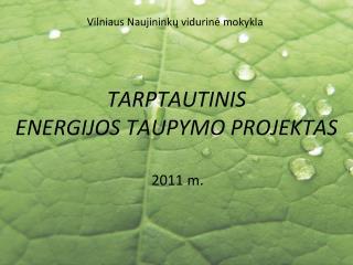 TARPTAUTINIS  ENERGIJOS TAUPYMO PROJEKTAS
