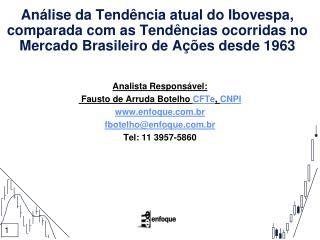 Analista Responsável:  Fausto de Arruda Botelho  CFTe ,  CNPI enfoque.br