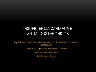 INSUFICIENCIA CARDÍACA E ANTIALDOSTERÓNICOS