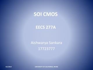SOI CMOS  EECS 277A