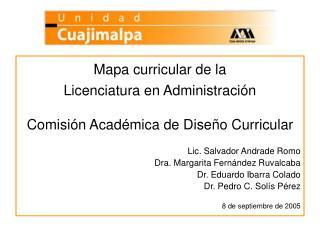 Mapa curricular de la  Licenciatura en Administración Comisión Académica de Diseño Curricular