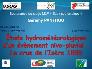 Étude hydrométéorologique d'un évènement nivo-pluvial : La crue de l'Isère 1859