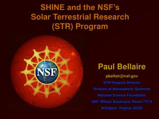 SHINE and the NSF's Solar Terrestrial Research (STR) Program
