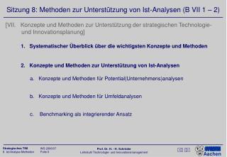 Sitzung 8: Methoden zur Unterstützung von Ist-Analysen (B VII 1 – 2)