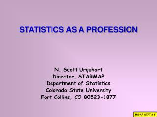 STATISTICS AS A PROFESSION