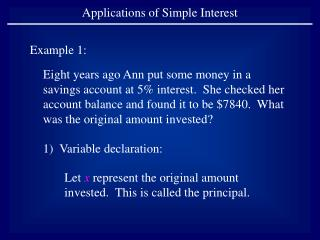 Applications of Simple Interest