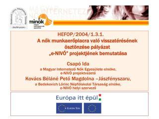 Csapó Ida a Magyar Internetező Nők Egyesülete elnöke,  e-NIVÓ projektvezető