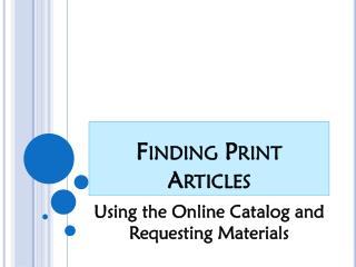 Finding Print Articles