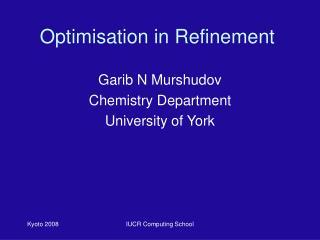 Optimisation in Refinement