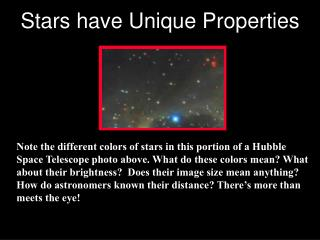 Note the different colors of stars in this portion of a Hubble Space Telescope photo above. What do these colors mean Wh
