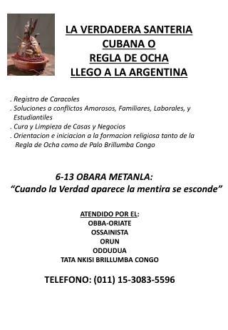 LA VERDADERA SANTERIA CUBANA O  REGLA DE OCHA LLEGO A LA ARGENTINA