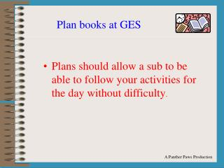Plan books at GES