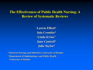 The Effectiveness of Public Health Nursing: A Review of Systematic Reviews