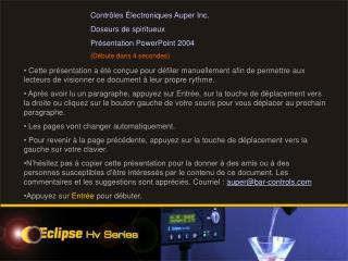 Contrôles Électroniques Auper Inc. Doseurs de spiritueux  Présentation PowerPoint 2004