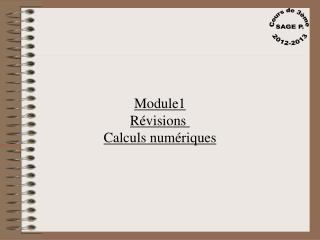Module1 Révisions  Calculs numériques