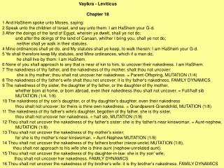 Vayikra - Leviticus  Chapter 18