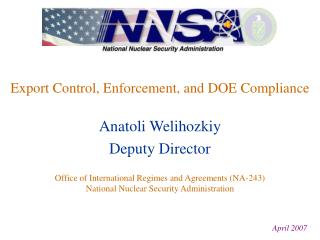 Export Control, Enforcement, and DOE Compliance